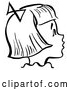 Vector Clip Art of Retro Happy Girl in Profile in Black and White by Picsburg