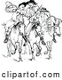 Vector Clip Art of Retro Huntsmen on Horseback by Prawny Vintage