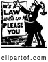 Vector Clip Art of Retro Officer Nailing a Its a Law with Us to Please You Sign by BestVector