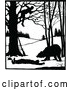 Vector Clip Art of Retro Silhouetted Man in a Tree over a Bear and Attacked Man by Prawny Vintage