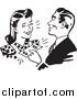Vector Clipart of a Retro Man Handing Cash to a Woman by BestVector